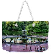 Bethesda Fountain Overlooking Central Park Pond Weekender Tote Bag by Paul Ward