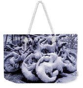 Bicycles Covered With Snow Weekender Tote Bag