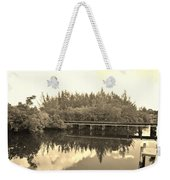 Big Sky And Dock On The River In Sepia Weekender Tote Bag