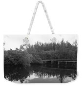 Big Sky On The North Fork River In Black And White Weekender Tote Bag