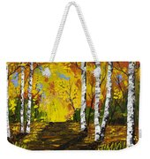 Birch Trees And Road Fall Painting Weekender Tote Bag