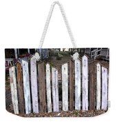Bird House Fence With Black Cat Weekender Tote Bag