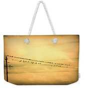 Birds On A Wire Yellow Orange Weekender Tote Bag