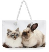 Birman Cat And Colorpoint Rabbit Weekender Tote Bag