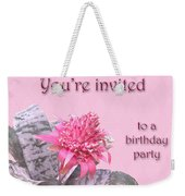 Birthday Party Invitation - Pink Flowering Bromeliad Weekender Tote Bag
