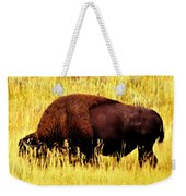Bison In Field Weekender Tote Bag