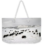 Bison Paw Away Snow With Head Weekender Tote Bag