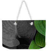 Black And White And Green Leaves Weekender Tote Bag