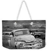 Black And White Photograph Of A Junk Yard With Vintage Auto Bodies Weekender Tote Bag