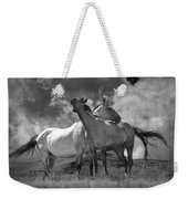 Black And White Photograph Of Montana Horses Weekender Tote Bag