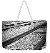 Black And White Railroad Tracks Weekender Tote Bag