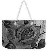 Black And White Rose Sketch Weekender Tote Bag