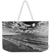 Black And White Shoreline Of Lake Weekender Tote Bag