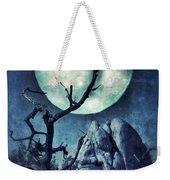 Black Bird Landing On A Branch In The Moonlight Weekender Tote Bag
