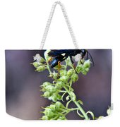 Black Flower Feeding Wasp Weekender Tote Bag