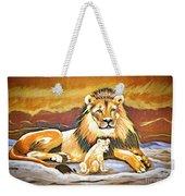 Black Maned Lion And Cub Weekender Tote Bag