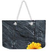 Black Schist Flower Weekender Tote Bag by Carlos Caetano