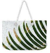 Bladed Leaf Against Stucco Wall Weekender Tote Bag
