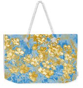 Blue And Gold Floral Abstract Weekender Tote Bag