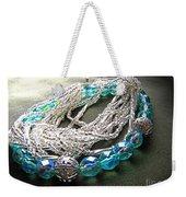Blue And Silver Bead Bracelet Weekender Tote Bag