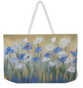 Blue And White Flora Weekender Tote Bag