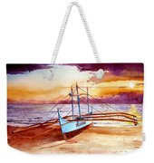 Blue Boat On The Shore Weekender Tote Bag