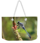Blue Dragonfly On Pink Flower Weekender Tote Bag
