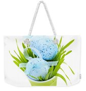 Blue Easter Eggs And Green Grass Weekender Tote Bag