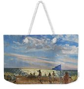 Blue Flag And Red Sun Shade Weekender Tote Bag