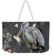Blue Heron With Fish Weekender Tote Bag