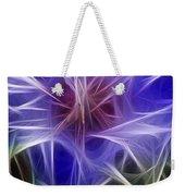 Blue Hibiscus Fractal Panel 2 Weekender Tote Bag by Peter Piatt