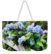 Blue Hydrangea On White Fence Weekender Tote Bag