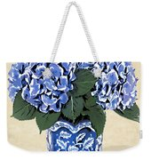 Blue Hydrangeas In A Pot On Parchment Paper Weekender Tote Bag