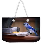 Blue Jay On Backyard Feeder Weekender Tote Bag