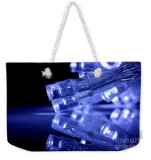 Blue Led Lights Closeup With Reflection Weekender Tote Bag