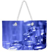 Blue Led Lights Pointing Upwards Weekender Tote Bag
