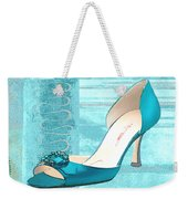 Blue Satin Ball Gown Pump Weekender Tote Bag