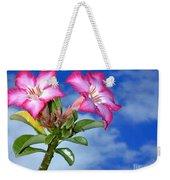 Blue Sky Pink Flower Weekender Tote Bag