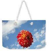 Blue Sky White Clouds Floral Art Prints Dahlia Flowers Weekender Tote Bag