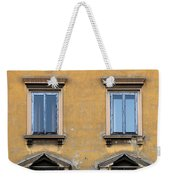 Blue Windows On A Yellow Wall In Milan Weekender Tote Bag