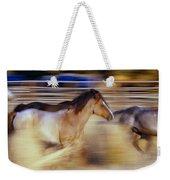 Blurred View Of Horses Running Through Weekender Tote Bag