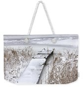 Boat Dock In Winter On A Lake No.0243 Weekender Tote Bag