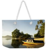 Boat On Sandy Beach Weekender Tote Bag