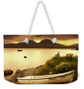 Boat On The Shore At Sunset, Island Of Weekender Tote Bag