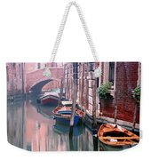 Boats Bridge And Reflections In A Venice Canal Weekender Tote Bag
