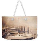 Boats In Foggy Harbor Weekender Tote Bag