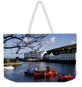 Boats Moored At A Riverbank With Weekender Tote Bag