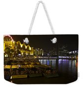Boats Moored To The Side At Clarke Quay In Singapore Weekender Tote Bag
