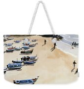 Boats On The Beach Weekender Tote Bag by Lucy Willis