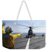 Boatswain's Mate Directs A Ch-46 Sea Weekender Tote Bag